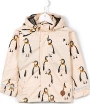 Mini Rodini , 'edelweiss' Penguin Jacket Kids Recycled Polyester 2 Yrs, Nudeneutrals