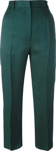 Mm6 Maison Margiela , Cropped Trousers Women Linenflaxviscose 40, Green