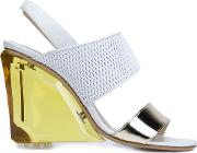 Monique Lhuillier , Sling Back Chunky Heel Sandals Women Leathernappa Leather 37, White