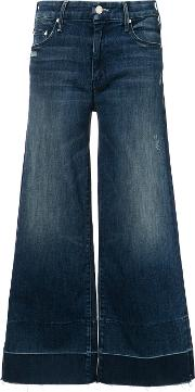 Mother , Cropped Flared Trousers Women Cottonpolyesterspandexelastane 27, Blue