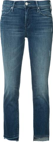 Mother , Cropped Skinny Jeans Women Cottonpolyesterspandexelastane 25, Blue