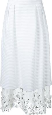Mother Of Pearl , Embellished Layered Skirt Women Silkcotton 10, White