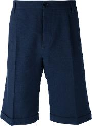 Mp Massimo Piombo , Knee Length Tailored Shorts Men Cottonlinenflaxspandexelastane 48, Blue