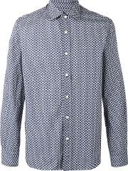 Mp Massimo Piombo , Patterned Shirt Men Cotton 41, Blue
