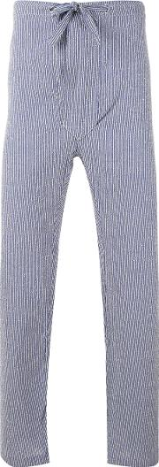 Mp Massimo Piombo , Striped Cropped Trousers Men Cottonpolyamide S, Blue