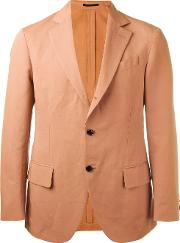 Mp Massimo Piombo , Unconstructed Contrast Button Blazer Men Cottonlinenflaxviscose 50, Pinkpurple