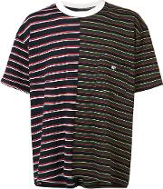 Mr Completely , Mr. Completely Chest Pocket Striped T Shirt Men Cotton L