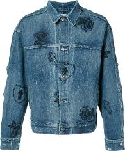 Mr Completely , Mr. Completely Rose Embroidered Denim Jacket Men Cotton L, Blue
