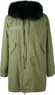 Mr & Mrs Italy , Army Long Parka Men Cottonlamb Skinrabbit Furracoon Fur S, Green