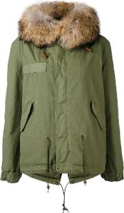 Mr & Mrs Italy , Army Mini Parka Women Cottonlamb Skinpolyesterracoon Fur Xxs, Green