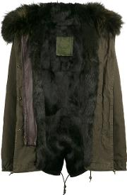 Mr & Mrs Italy , Brown Rabbit Fur Lined Parka Coat Women Cottonlamb Skinrabbit Furpolyamide Xs, Green