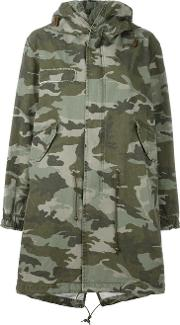 Mr & Mrs Italy , Camouflage Print Parka Women Cotton Xxs, Green