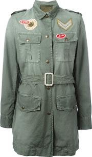 Mr & Mrs Italy , Embroidered Patch Belted Jacket Women Cottonacrylicpvcmetal 42, Green
