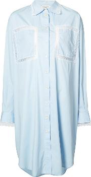 Natasha Zinko , Lace Panel Shirt Dress Women Cotton 34, Blue