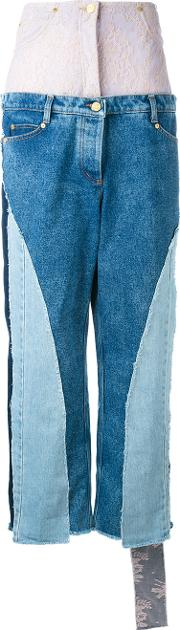Natasha Zinko , Multi Patterned High Rise Jeans Women Cottonpolyamide 34, Blue