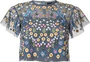 Needle & Thread , Floral Embroidered Blouse Women Polyester 4, Blue