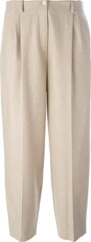 Nehera , Cropped Tailored Trousers Women Cottoncuprocashmerevirgin Wool 34, Nudeneutrals