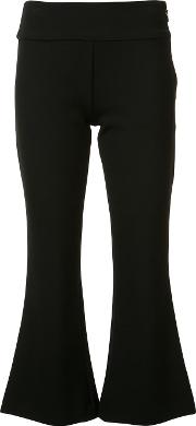 Nicole Miller , Flared Cropped Trousers Women Cottonpolyesterspandexelastaneviscose 4, Black