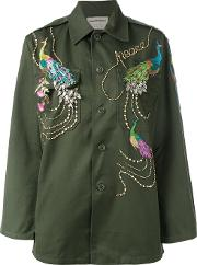 Night Market , Peacock Embroidered Army Jacket Women Cottonpolyestermetal Other Glass One Size, Green