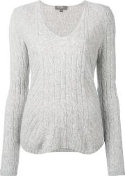 Npeal , N.peal Cashmere Diagonal Cable V Neck Jumper Women Cashmere S, Grey