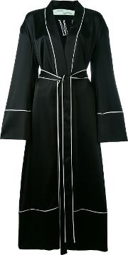 Offwhite , Off White Belted Robe Coat Women Silkpolyesteracetate S, Black