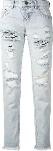 One Teaspoon , Ripped Cropped Jeans Women Cotton 26, Blue