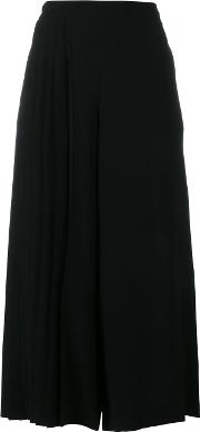 Osman , Wide Legged Pleated Cropped Trousers Women Polyestertriacetate 16, Women's, Black