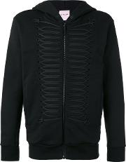 Palm Angels , Frogging Trimmed Hooded Jacket Men Cottonplasticpolyestermetal Other S, Black