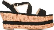 Paloma Barcelo , Wedge Sandals Women Suedestrawrubber 39, Black