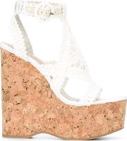 Paloma Barcelo , Wedged Sandals Women Canvasleatherrubber 36, White