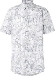 Paul By Paul Smith , Printed Shortsleeved Shirt Men Cotton M, White
