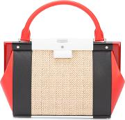 Perrin Paris , Colour Block Tote Women Leatherstraw One Size, Women's, Red
