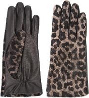 Perrin Paris , Leopard Gloves Women Leather 7.5, Black