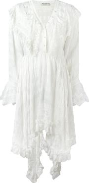 Philosophy Di Lorenzo Serafini , Asymmetric Ruffle Trim Dress Women Viscose 40, White