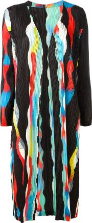 Pleats Please By Issey Miyake , Open Pleated Midi Coat Women Polyester 5, Black