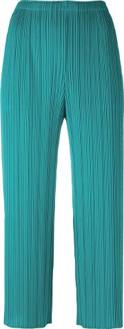 Pleats Please By Issey Miyake , Pleated Cropped Trousers Women Polyester 4, Women's, Green