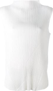 Pleats Please By Issey Miyake , Pleated High Neck Blouse Women Polyester 4, White