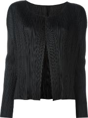 Pleats Please By Issey Miyake , Ribbed V Neck Cardigan Women Polyester 3, Women's, Black