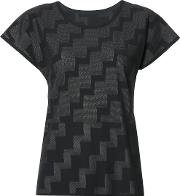 Pleats Please By Issey Miyake , Stepped Pattern T Shirt Women Nylonpolyesterpolyurethane 3, Black