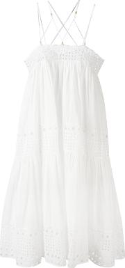 Plein Sud , Crisscross Strap Dress Women Cotton 38, White