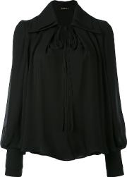 Plein Sud , Drawstring Neck Top Women Silk 36, Black