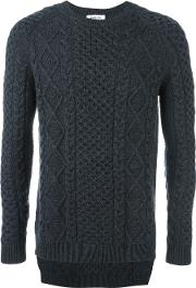 Ports , 1961 Cable Knit Jumper Men Wool S, Grey