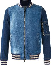 Ports , 1961 Denim Bomber Jacket Men Cottonspandexelastane 44, Blue