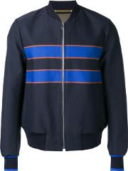 Ps By Paul Smith , Striped Detail Bomber Jacket Men Polyestercotton L, Blue