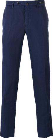 Pt01 , Slim Fit Chino Trousers Men Cottonlinenflax 48, Blue