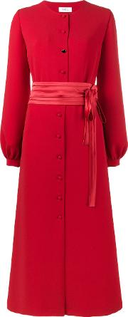 Racil , Button Up Bow Dress Women Polyesteracetateviscose 36, Red