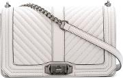 Rebecca Minkoff , Chevron Quilted Love Crossbody Bag Women Leather One Size, Grey