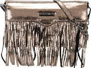 Rebecca Minkoff , Fringed Metallic Grey Clutch Women Leather One Size