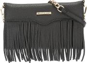 Rebecca Minkoff , Fringed Trim Clutch Bag Women Leather One Size, Black