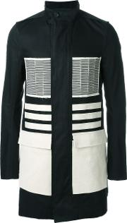 Rick Owens , Colour Block Coat Men Cottonpolyestercuproviscose 52, Black